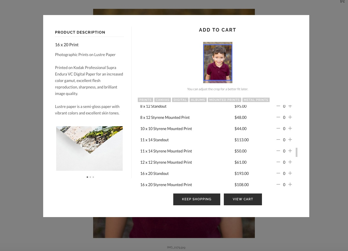 Added Convenience! - If you need more time to decide if you want to purchase prints, products, or gifts for family, you can add them to your cart directly from your online gallery when it's convenient for you!