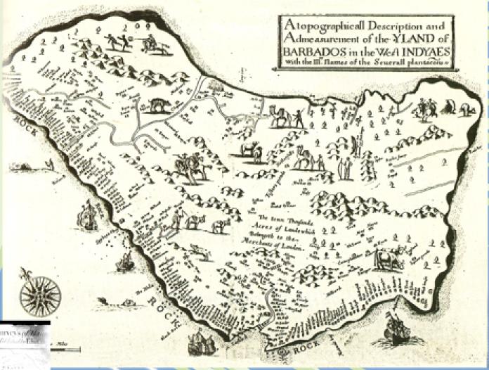 Map of Barbados Colony, ca. 1674