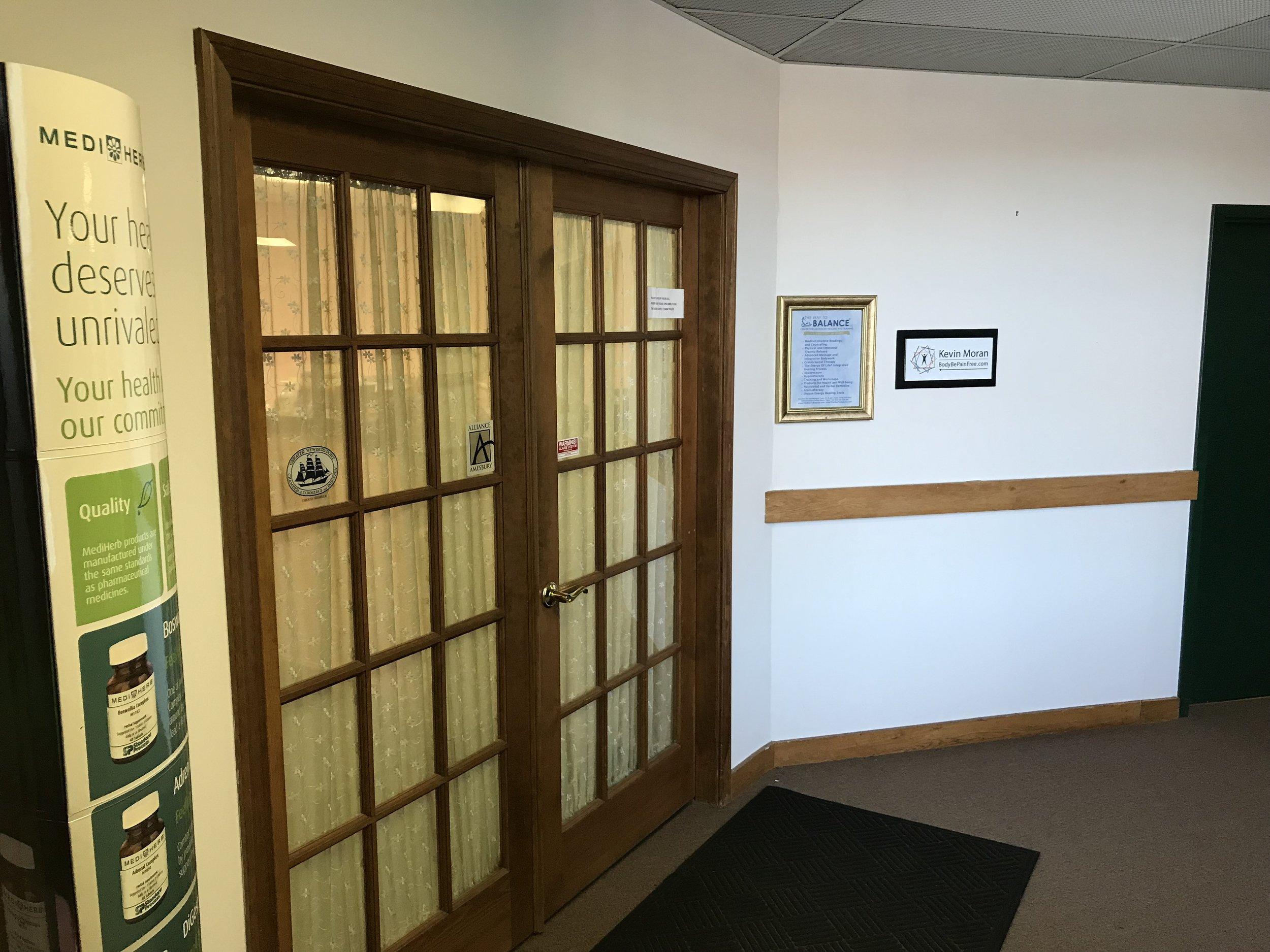 Find double doors just outside second floor door.