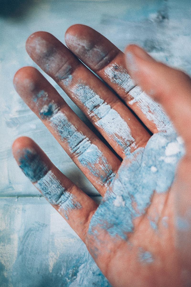 pintura fotografia arte tinta mãos azul florianópolis artista