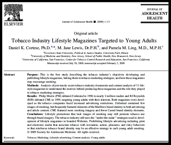 Co-Authored article published in  Journal of Adolescent Health