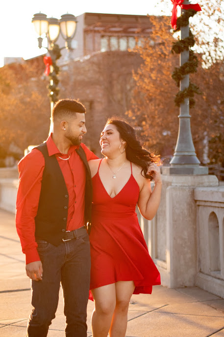 Couple's Session - Strolling downtown at sunset