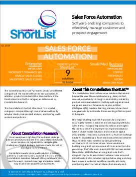 Q1 2019 Sales Force Automation Shortlist by Constellation Research -