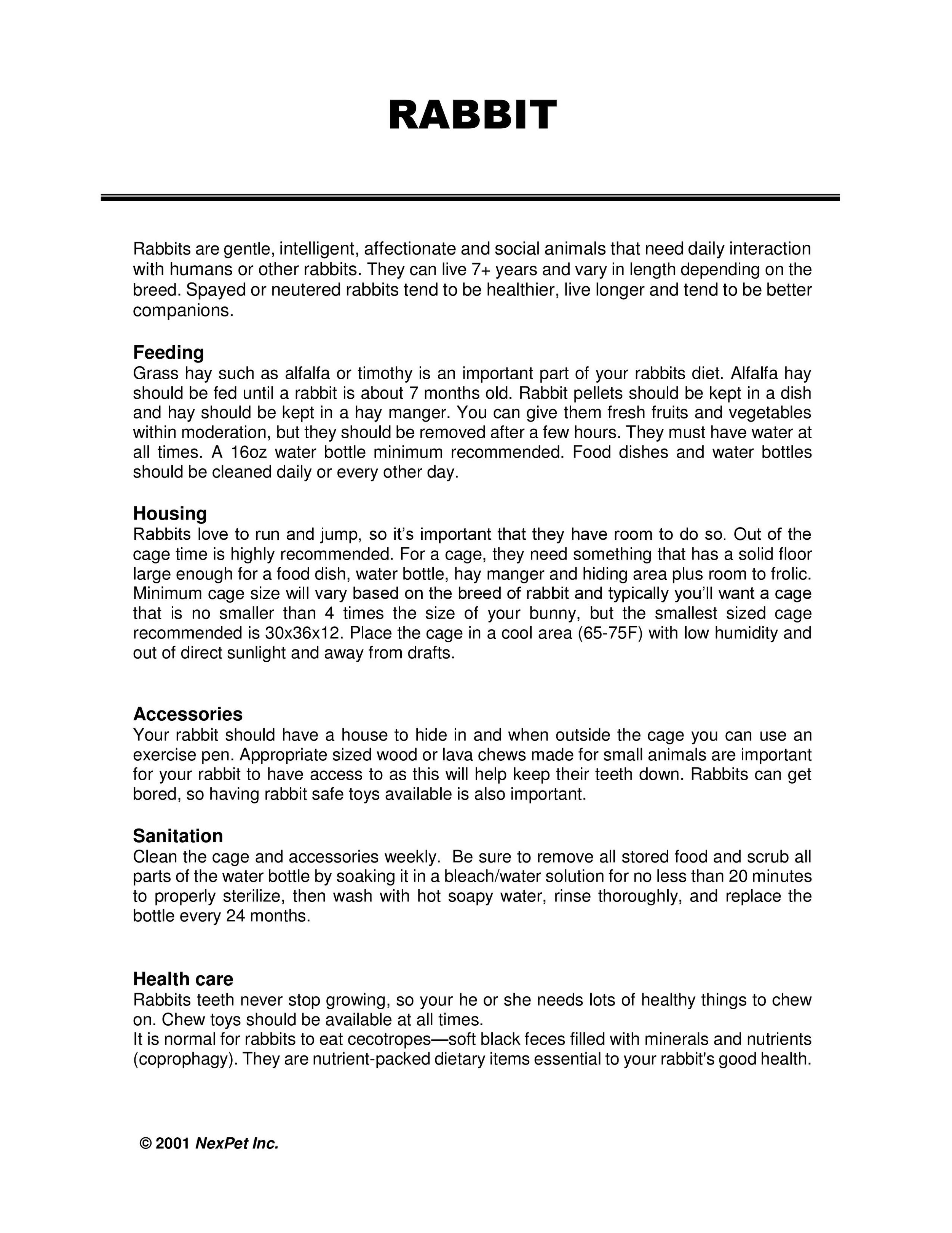 Rabbit Care Sheet pg1