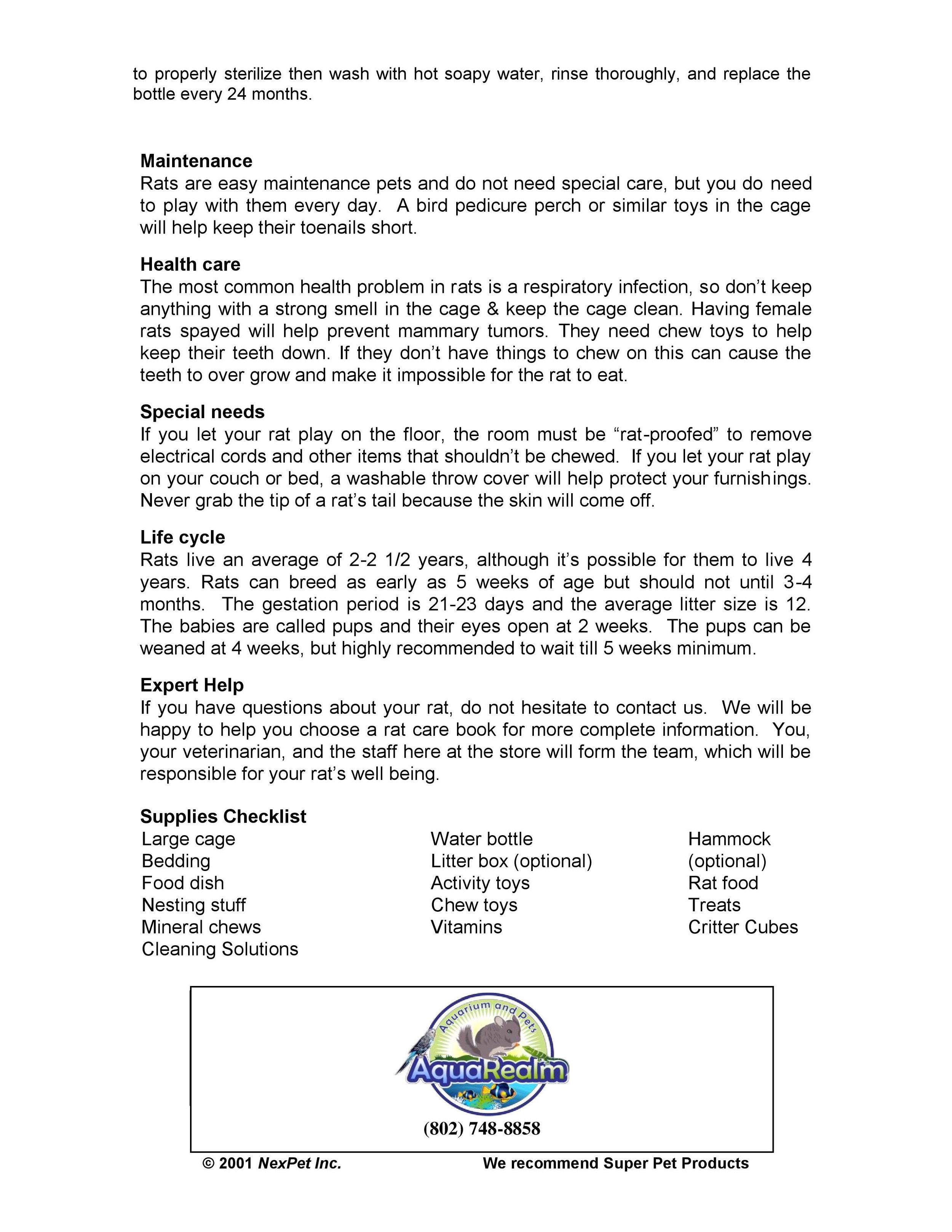 Rats Care Sheet pg2