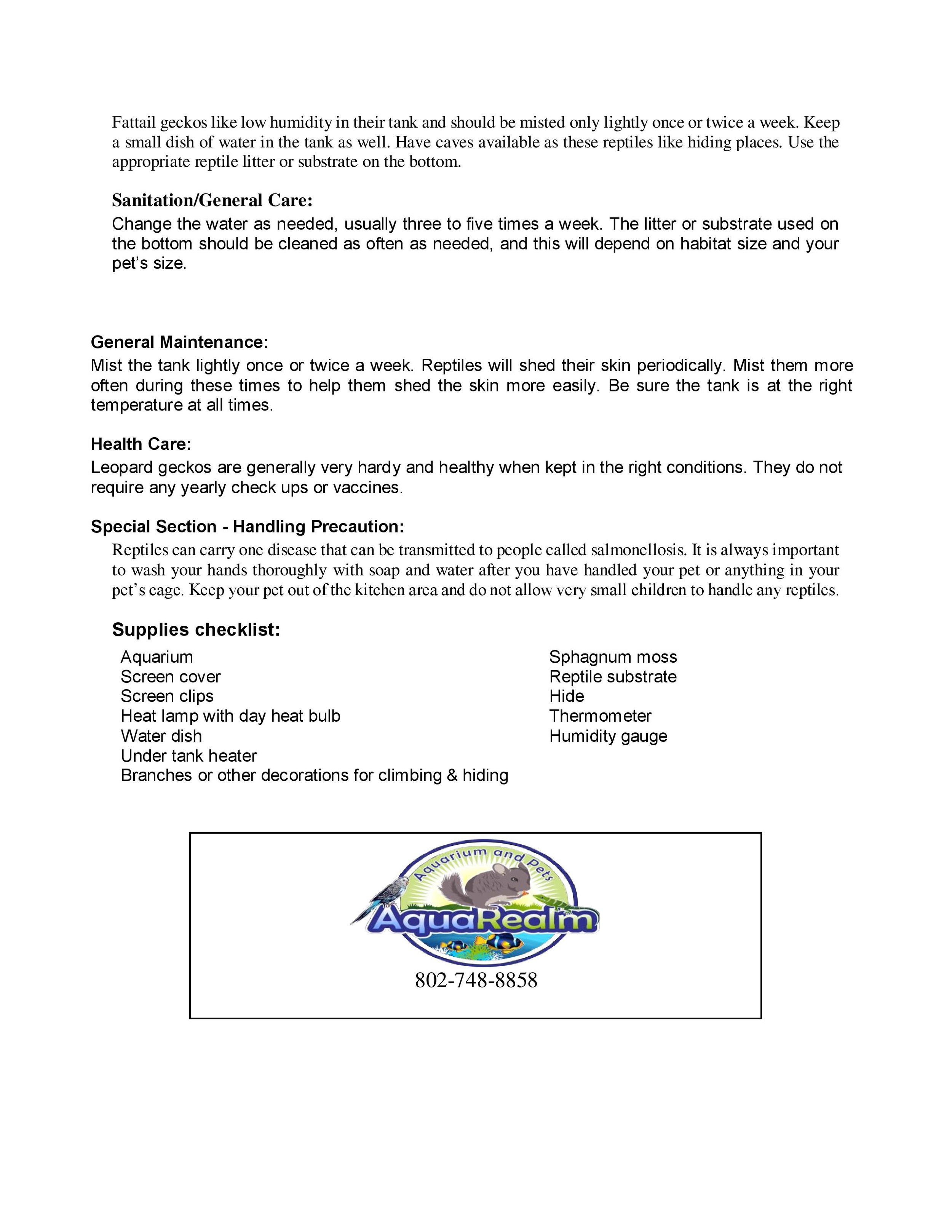 Fattail Gecko Care Sheet pg2