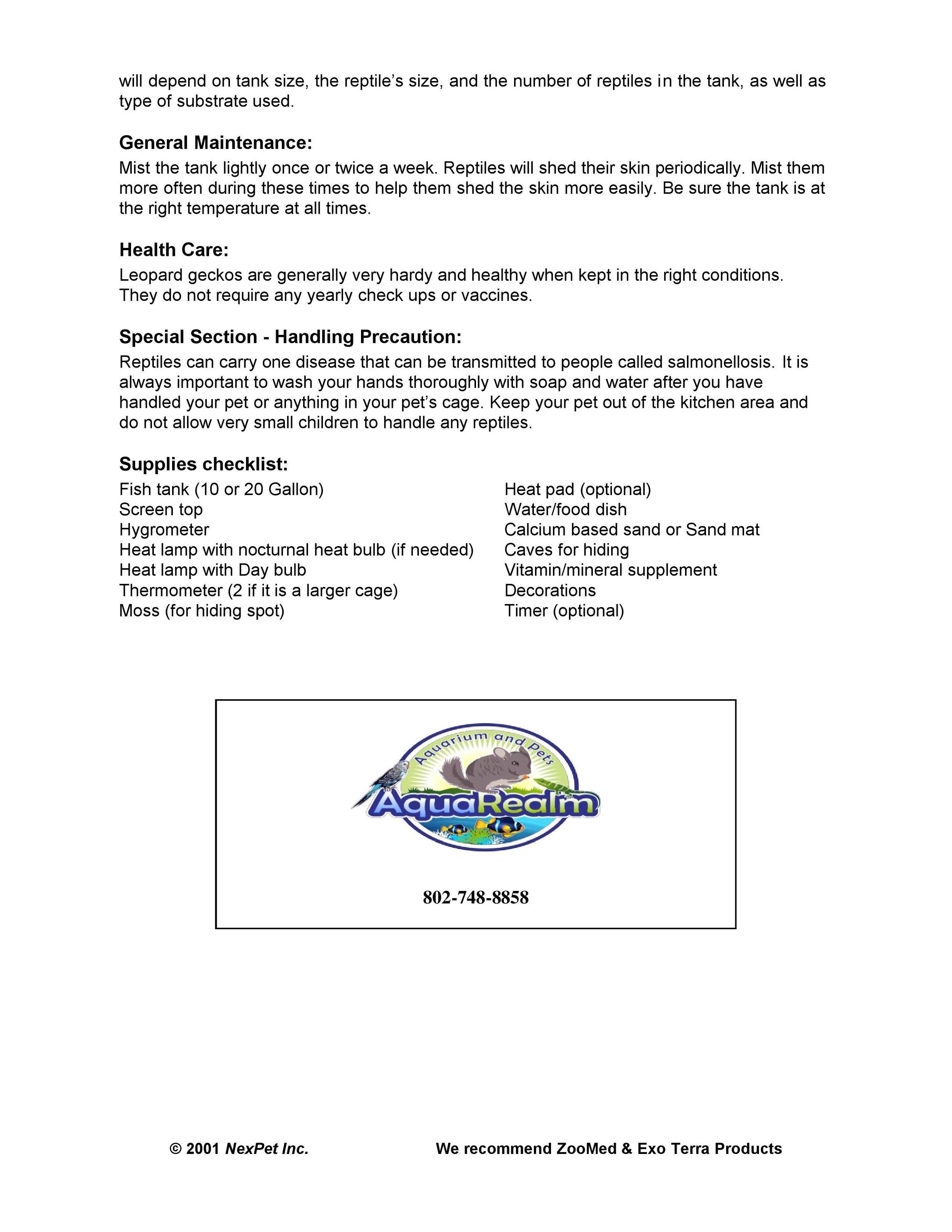 Leopard Gecko Care Sheet pg2