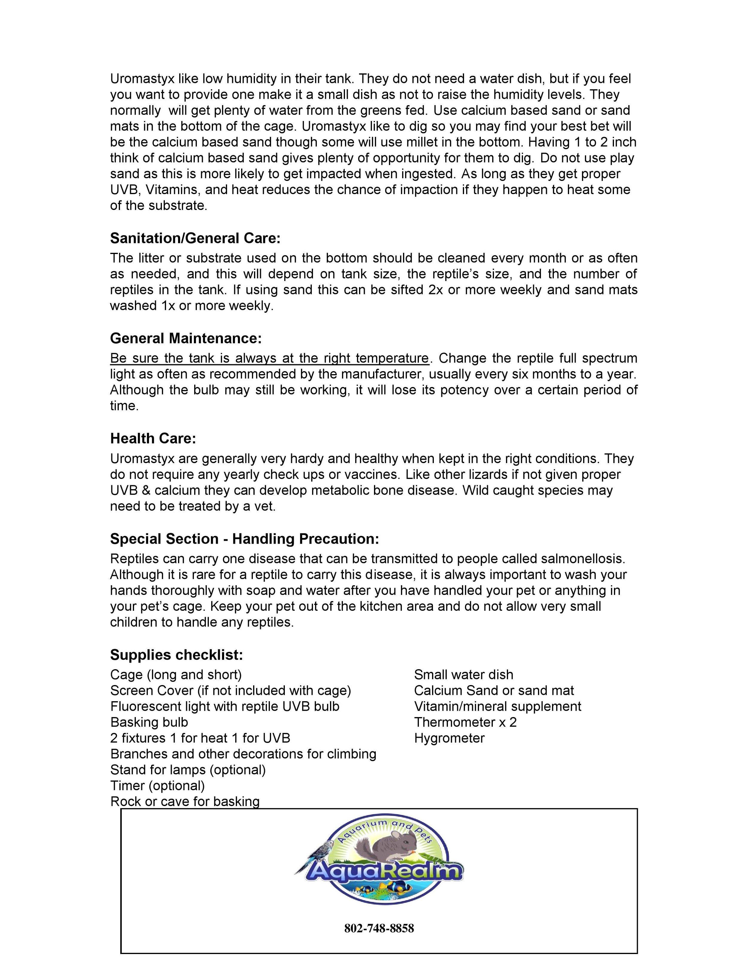 Uromastyx Care Sheet pg2