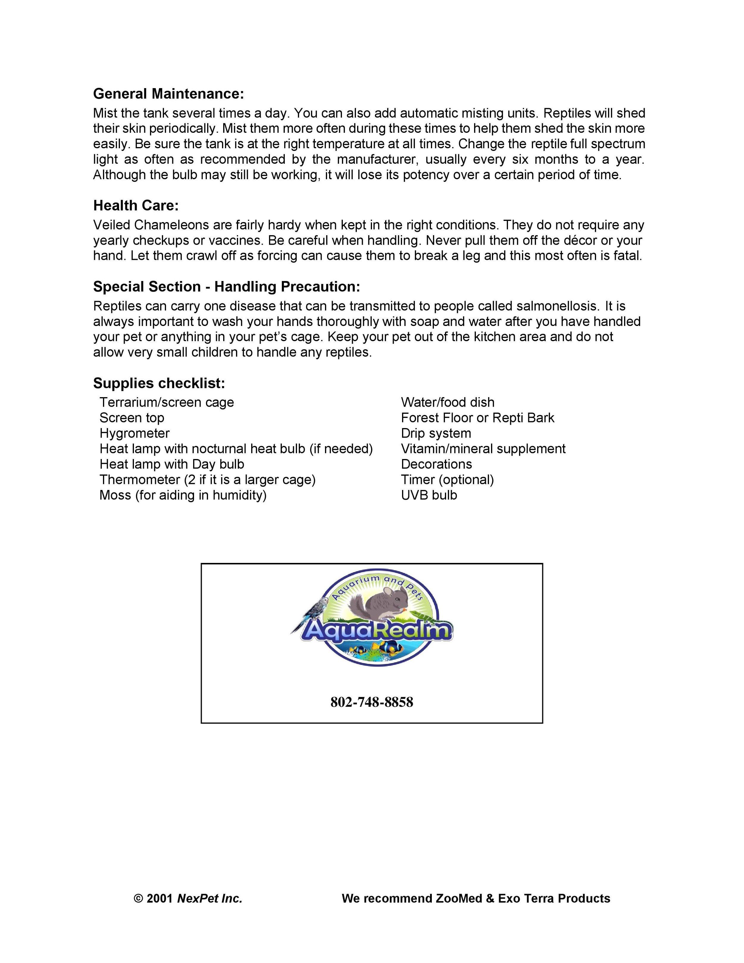 Veiled Chameleon Care Sheet pg2