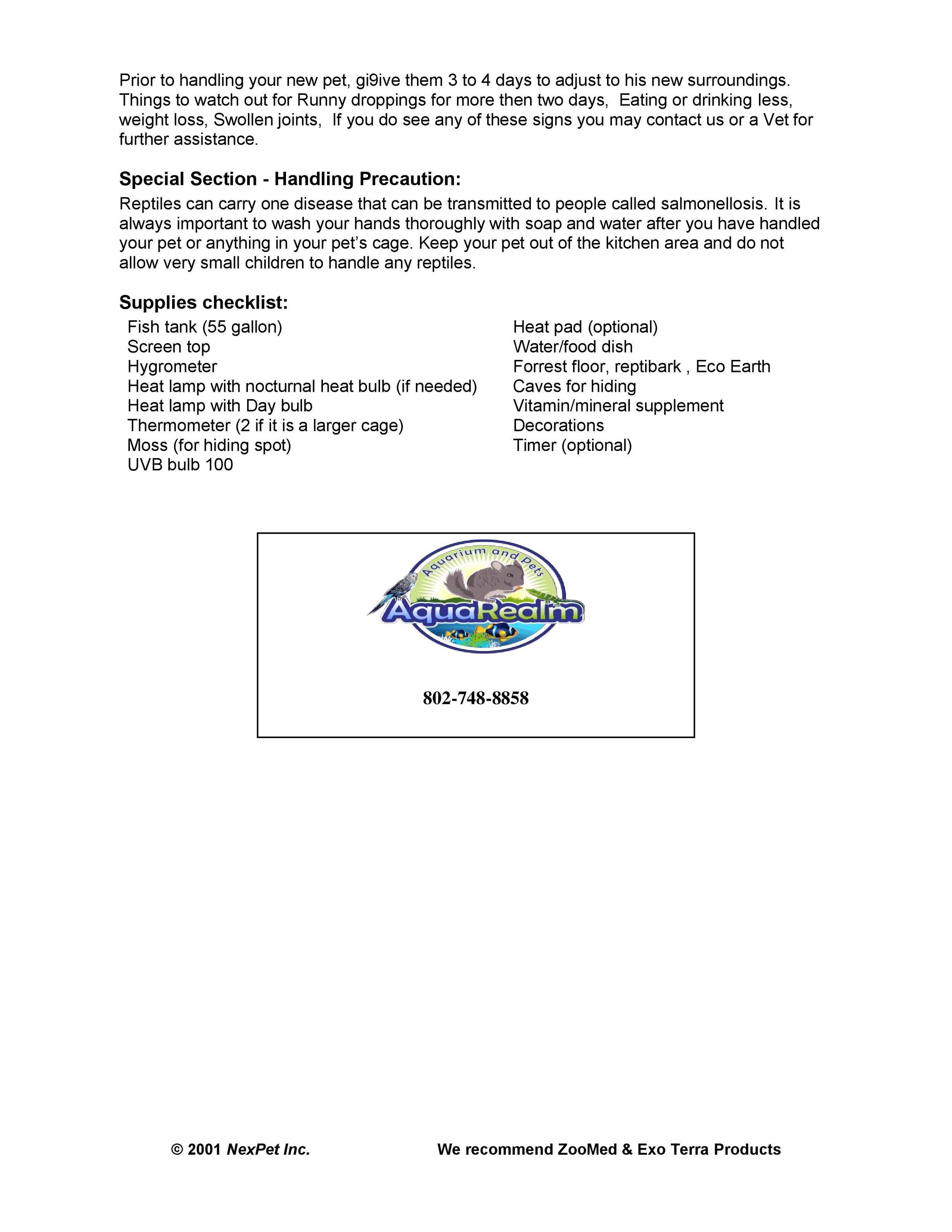 Water Dragon Care Sheet pg2
