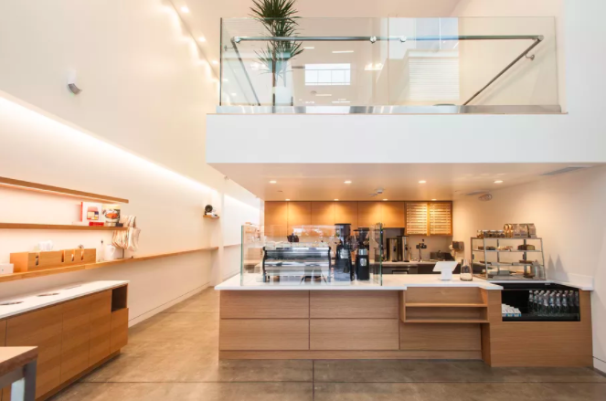 come here for the... - custom coffee drip bar, house-made granola, gravity-defying cantilevered mezzanine (complete with staircase seating).