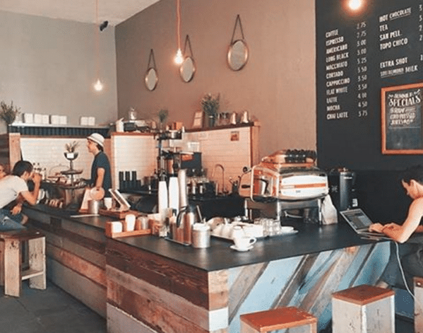 COME HERE FOR THE… - pour-over menu, free WiFi, Flat Track coffee, 'mom & pop' feel.