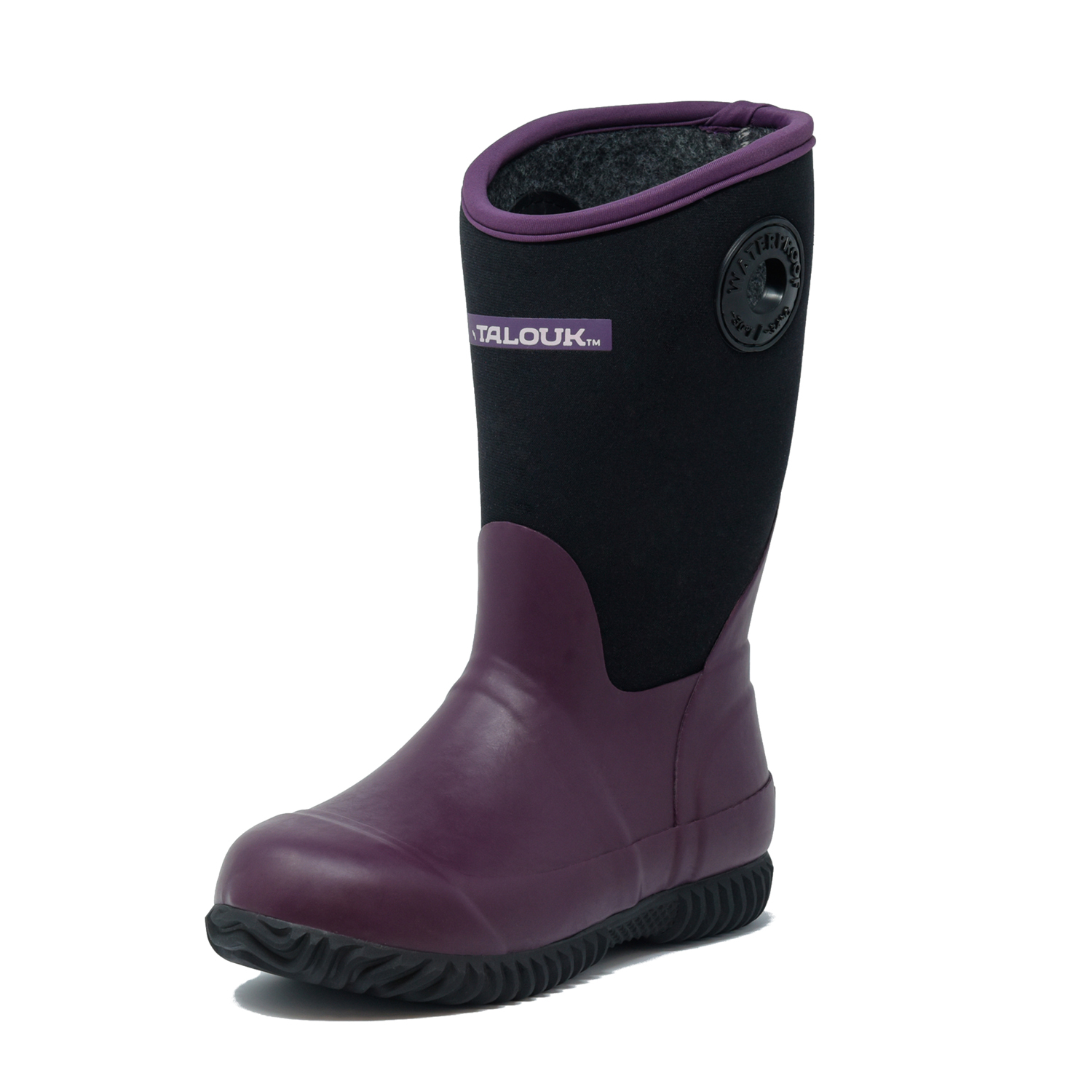 talouk outdoor purple eggplant insulated rubber waterproof rain boots for kids