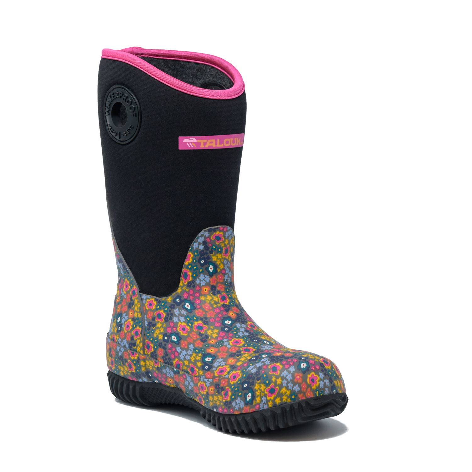 talouk outdoor pink paisley insulated rubber waterproof rain boots for kids