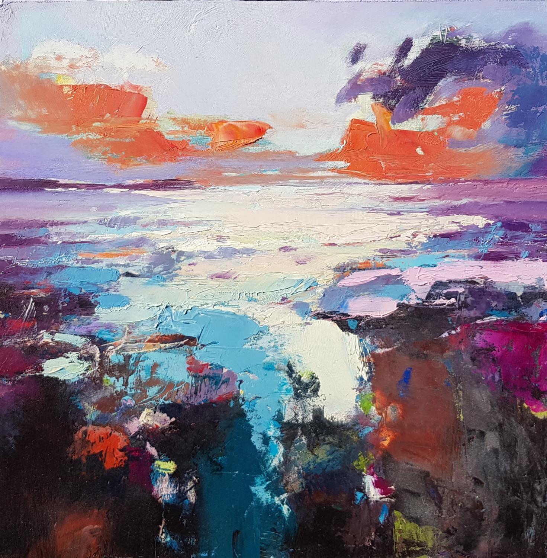 "IMAGE CREDIT: Rockpool Sunset by Andrew Kinmont MAFA, ARBA 16"" x 16"" oil"