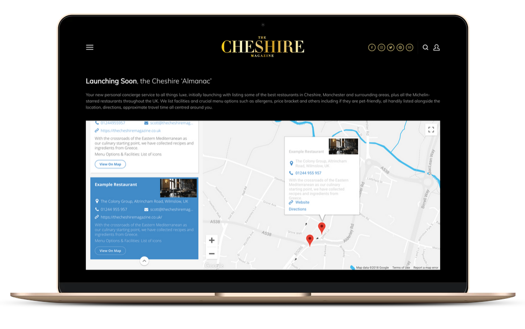 Use the Cheshire Almanac on any device to get turn by turn direction to any listing near you.