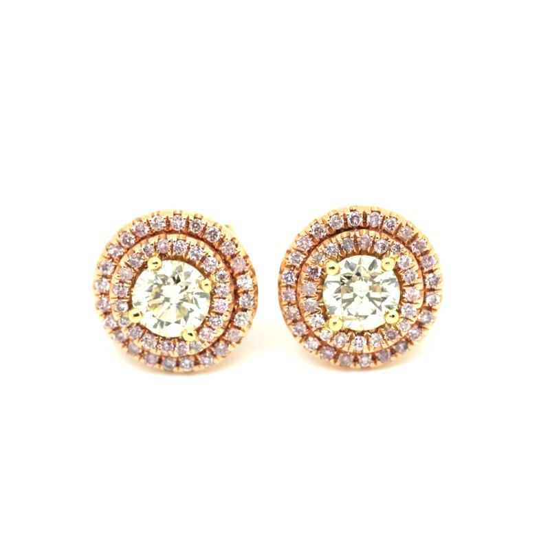 HR GREENSTEIN ANTIQUES Fancy yellow & pink diamond earrings.JPG