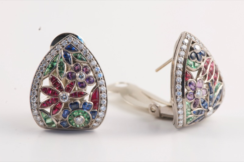 HR SHAPIRO & CO Pair of white gold multi gem earrings c 1960.jpg