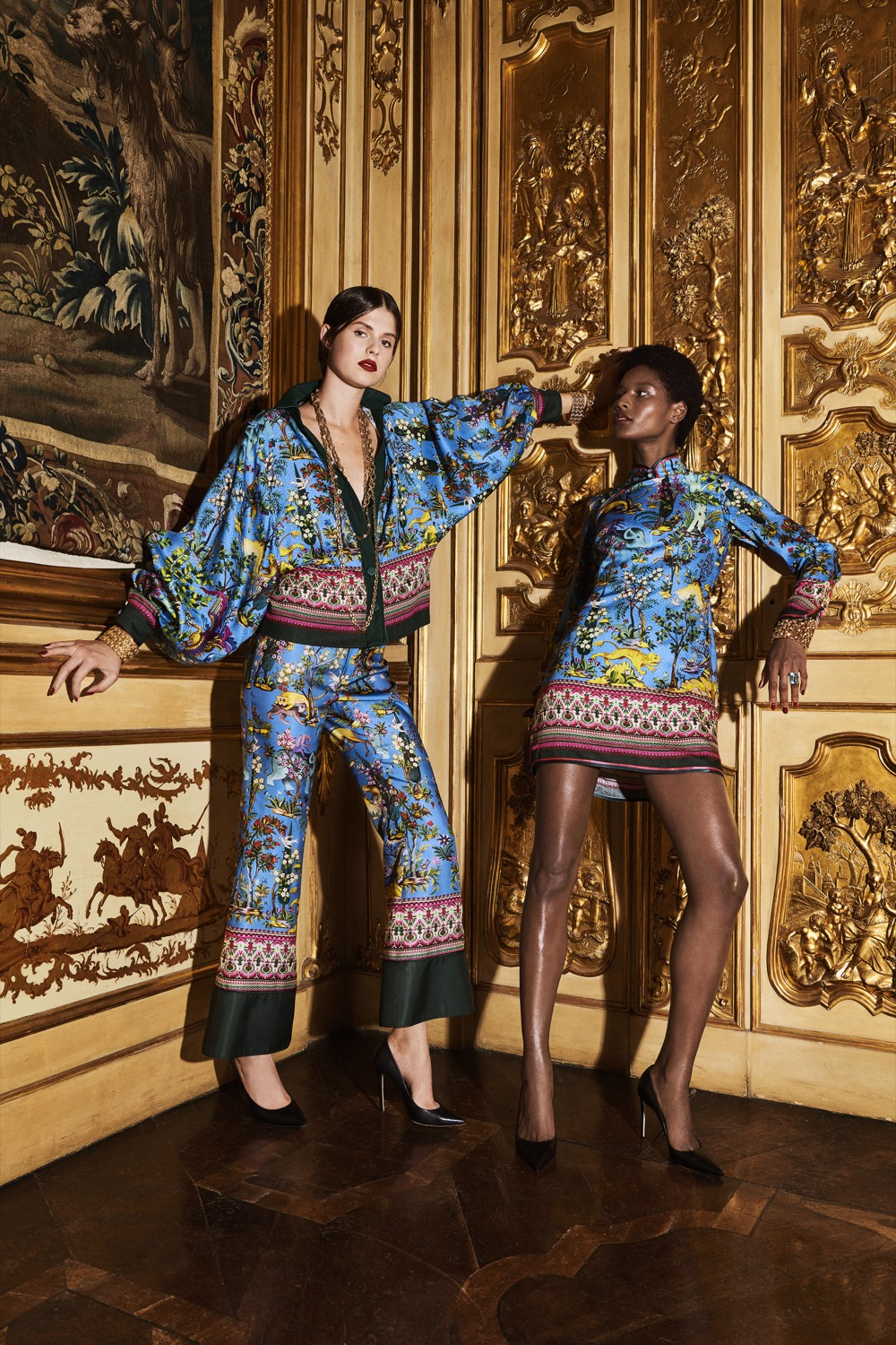 LEFT:    F.R.S For Restless Sleepers Anaideia pajama shirt in printed silk.  £789,    F.R.S For Restless Sleepers Dioscuri pajama pant in cupro.  £530    RIGHT:    F.R.S For Restless Sleepers Menezio japanese inspired mini dress.  £813