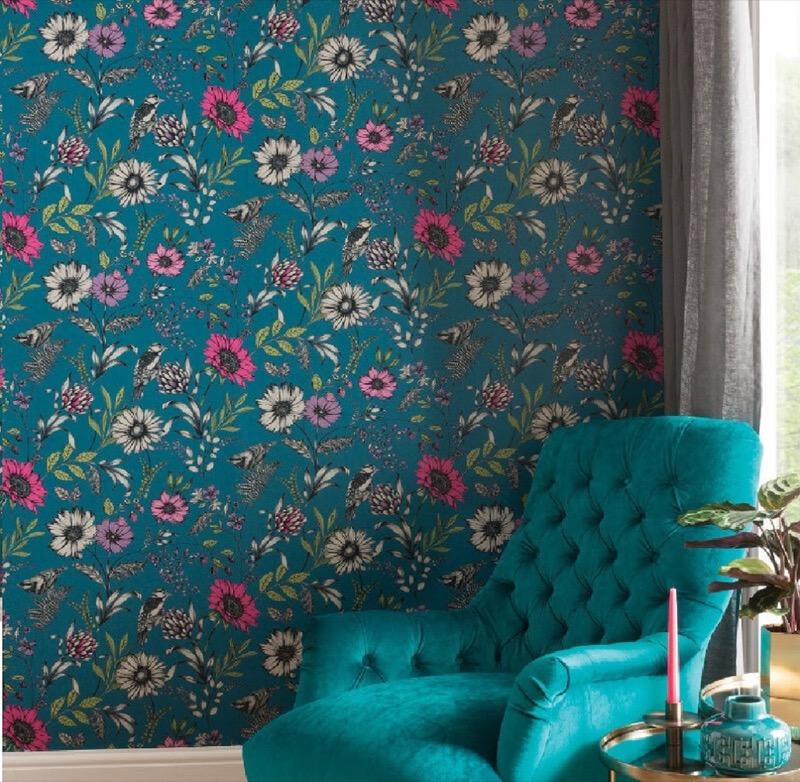 Arthouse Botanical Songbird Wallpaper -Teal.jpg