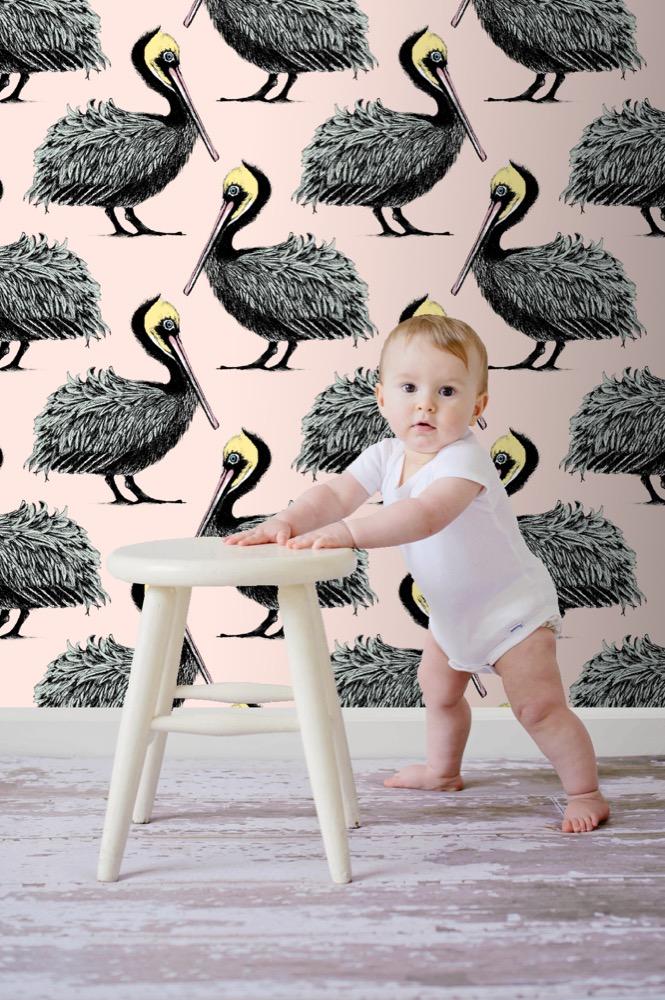 Pelican Wallpaper (Pink)  ,  £160,  www.petronellahalll.com
