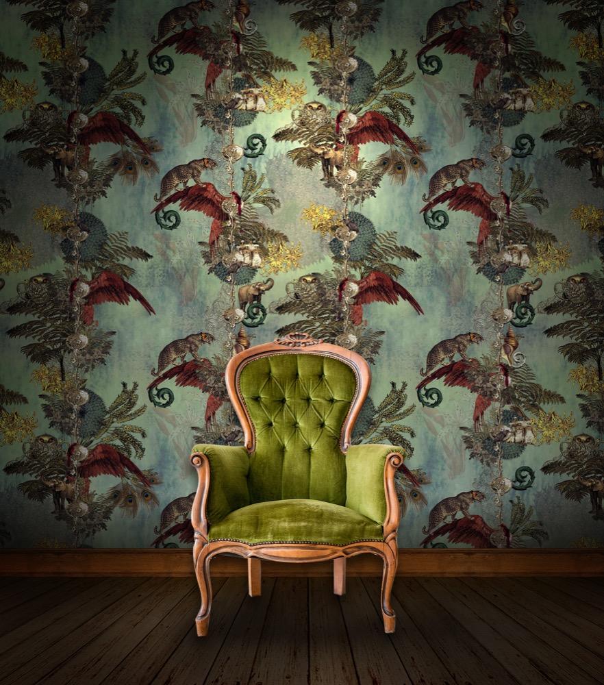 Jungle Paradise Wallpaper – Cardamom by Santorus  ,  £275,  www.limelace.co.uk