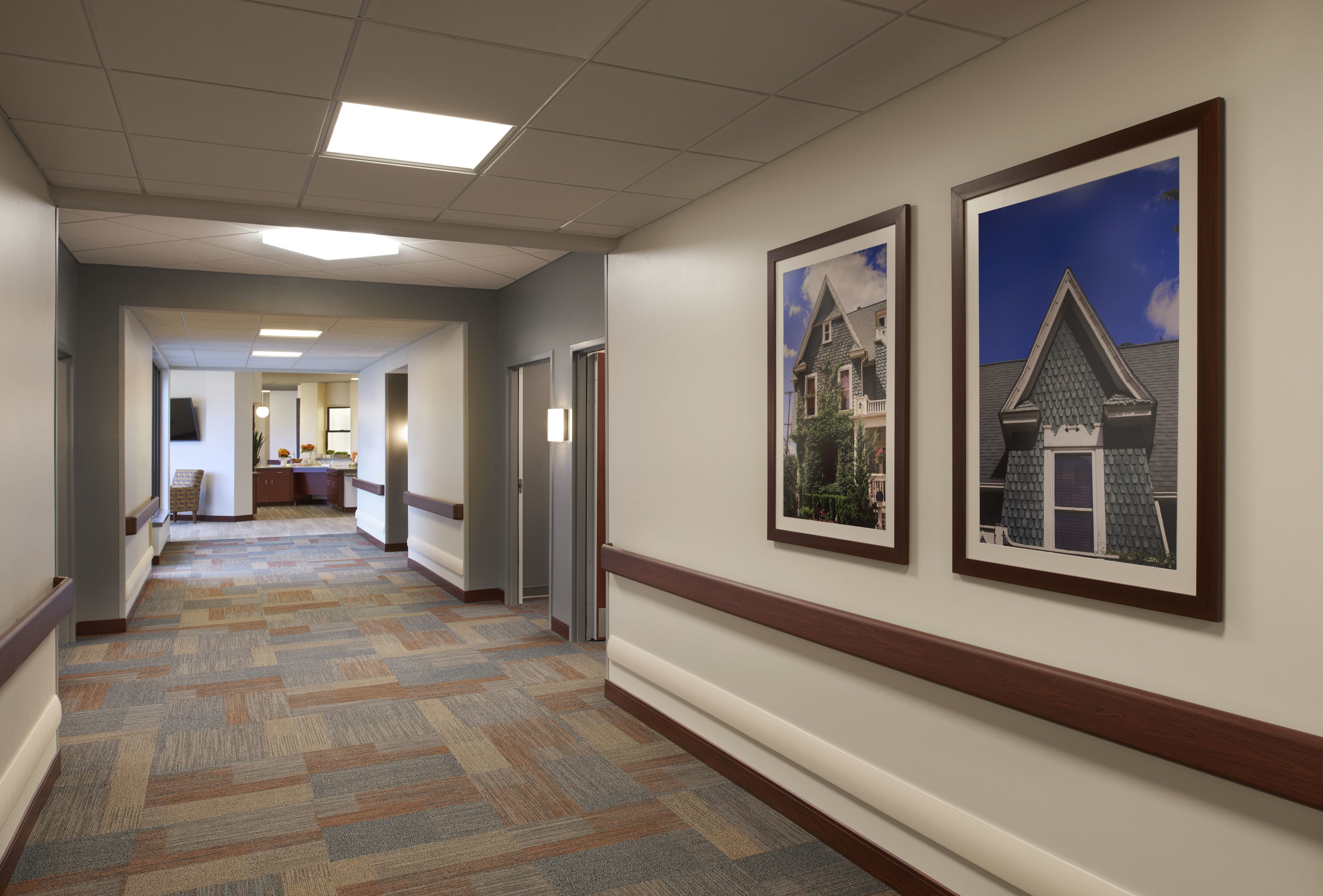 Quiet resident corridors are tucked around corners, leading to resident suites that look and feel like a modern hotel room.