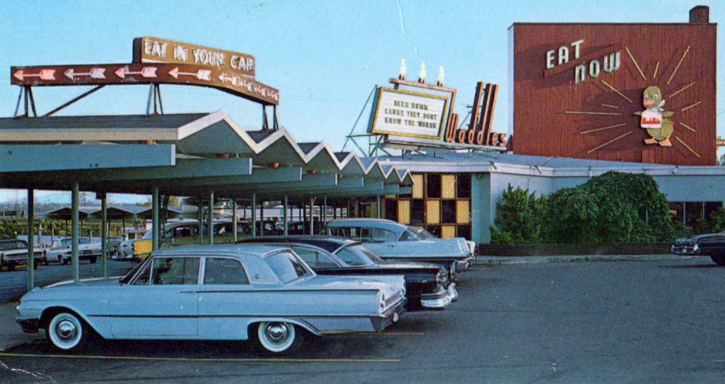 An old postcard from Waddle's Coffee Shop in Portland, Oregon, from an article by Chris Alm.