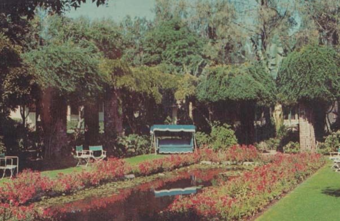 1960s postcard from the Old Mission Hotel Gardens in Santa Barbara.