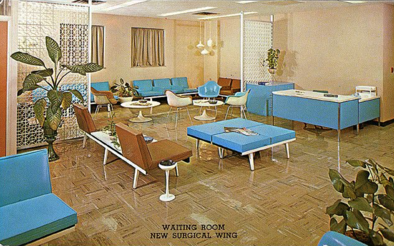 Image of the McCleary-Thornton-Minor Hospital waiting room in Excelsior Springs, Missouri during the 1970s. Check out those ashtrays~ health, ammiright?!