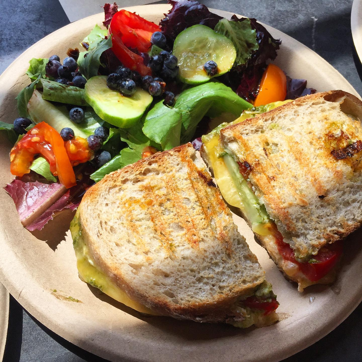 This is our grilled cheese panini made with Back 40 Bakehouse bread and @balfourfarm cheese. Add fresh veggies for no added charge!
