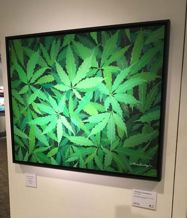 """I am excited to have my original marijuana-themed painting titled """"HOME GROWN"""" on exhibit to tonight 6-9 PM (and through August 31) at the 2018 Group Exhibition at Gallery 104 373 Broadway # 512 New York, NY 10013 in trendy Tribeca.  For more information and sales inquiries please contact  Gallery 104  at 917. 856. 7624"""