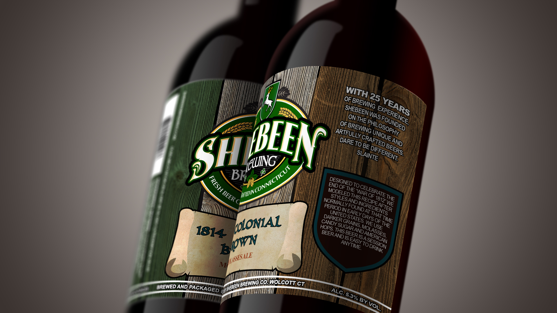 Bomber bottle label design: angled view