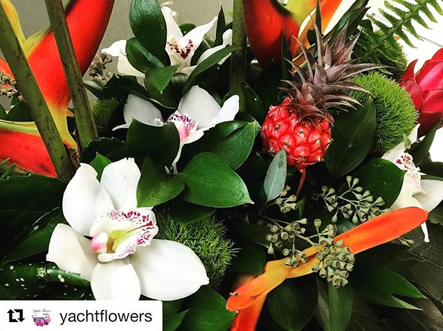 Get ready for the Summer of Tropical's !!! 🏝 ⛱ 🌺 🍹 Get inspired by this bold and beautiful tropical arrangement from our good friends @yachtflowers  #cymbidium  #birdofparadise  #minipinneapple  #haliconia  #tropicalnouveau  Order today!!!!
