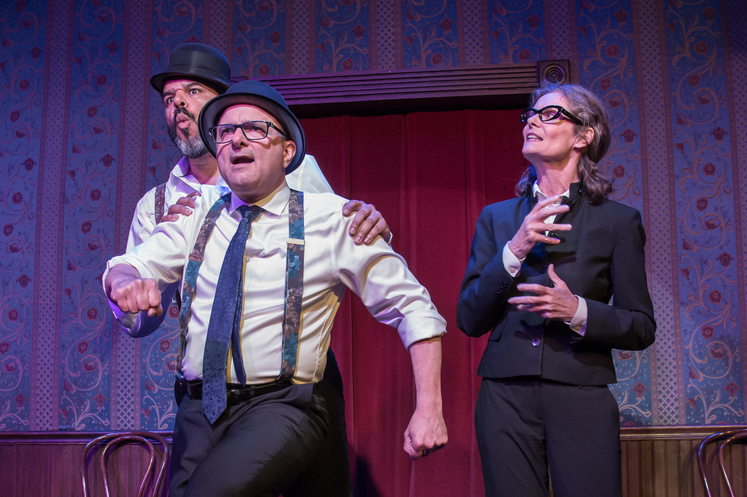 "Langley (Ric Walker) and Pratt (Joe Janes"" perform their vaudeville routine ""Right in the Balzac"" much to Alice's (Kelly Haran) disgust. Photo by Jerry Schulman."