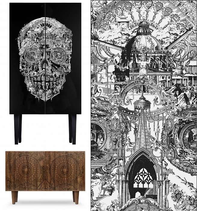 Clockwise: Skull Cabinet, Sanctuary Skull Rug & Gambling Skull Sideboard