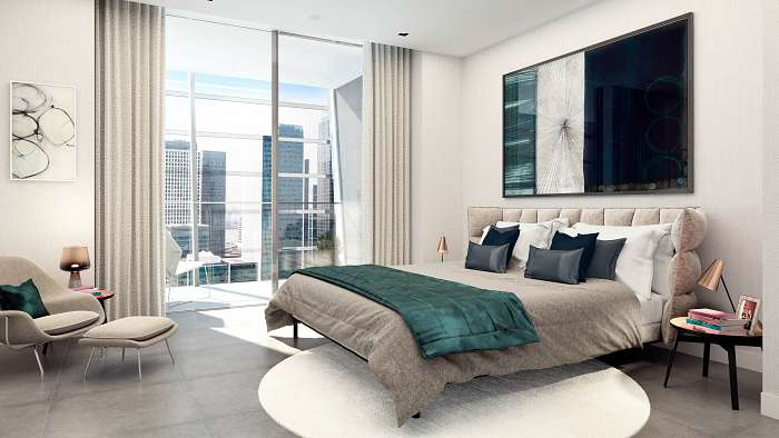 CGI of Mount Anvil's  Dollar Bay  Apartment bedroom, interior design by Suna Interior Design, CGI by Tekuchi. This CGI shows both our interior design and spec.