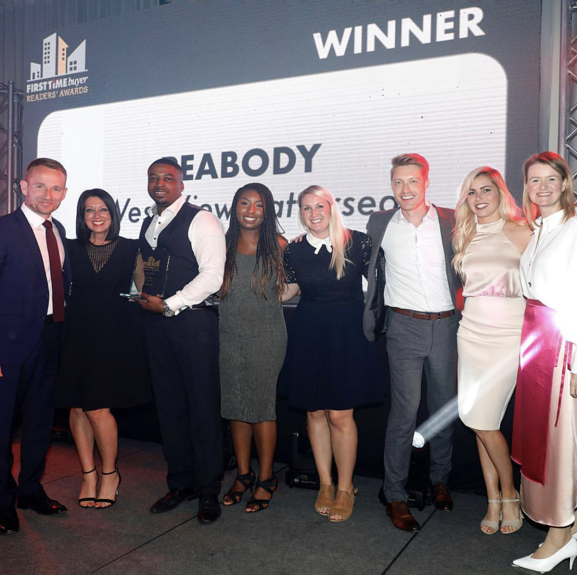 Leonnie Whitehead, Senior Designer at Suna Interior Design, joined the Peabody team on stage to collect the award for Best Show Home at The awards ceremony held at the Marriott Hotel Grosvenor Square on Friday 26th April 2019.