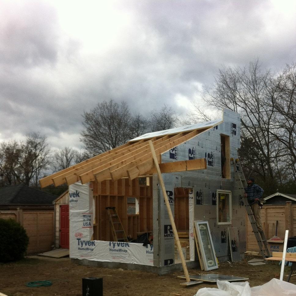 framing a backyard studio