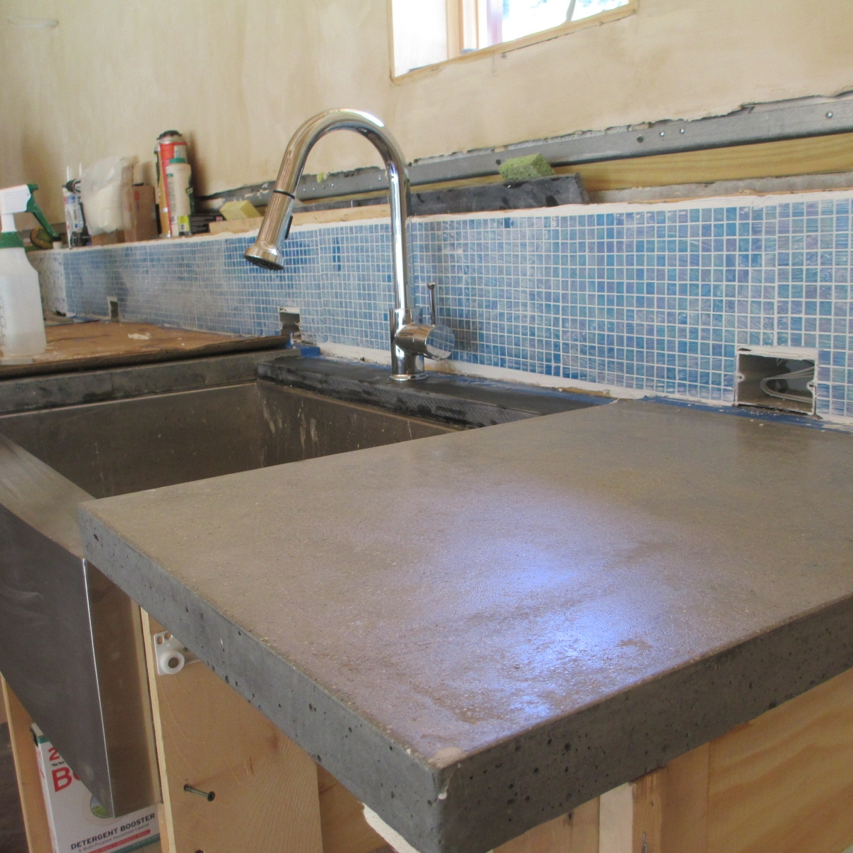 steel troweled finish on a concrete counter
