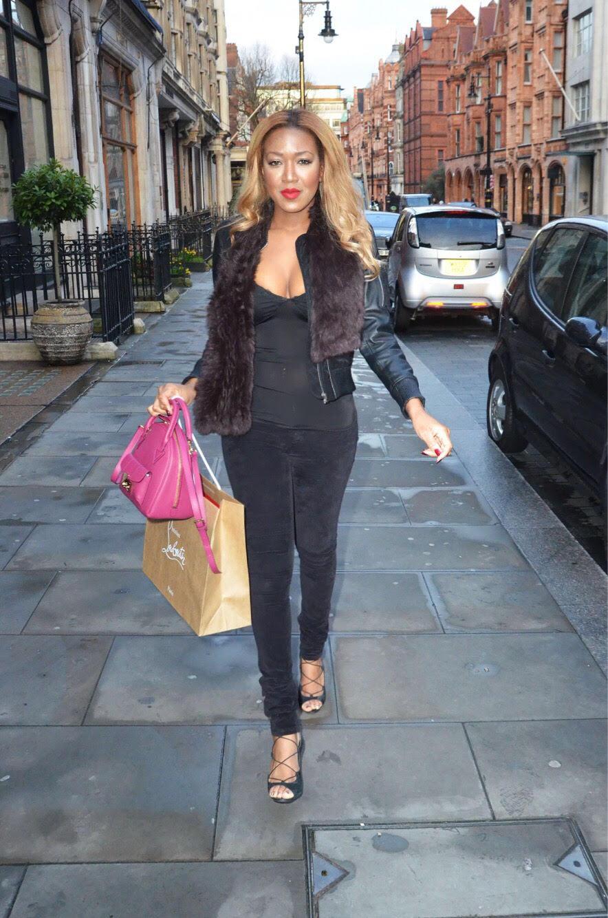gina rio + georgina rio + papped photo + mount street + louboutin + criss cross heels + lace up + sexy + figure + body + fur + blonde + black + hot girl + big brother + celebrity .jpg