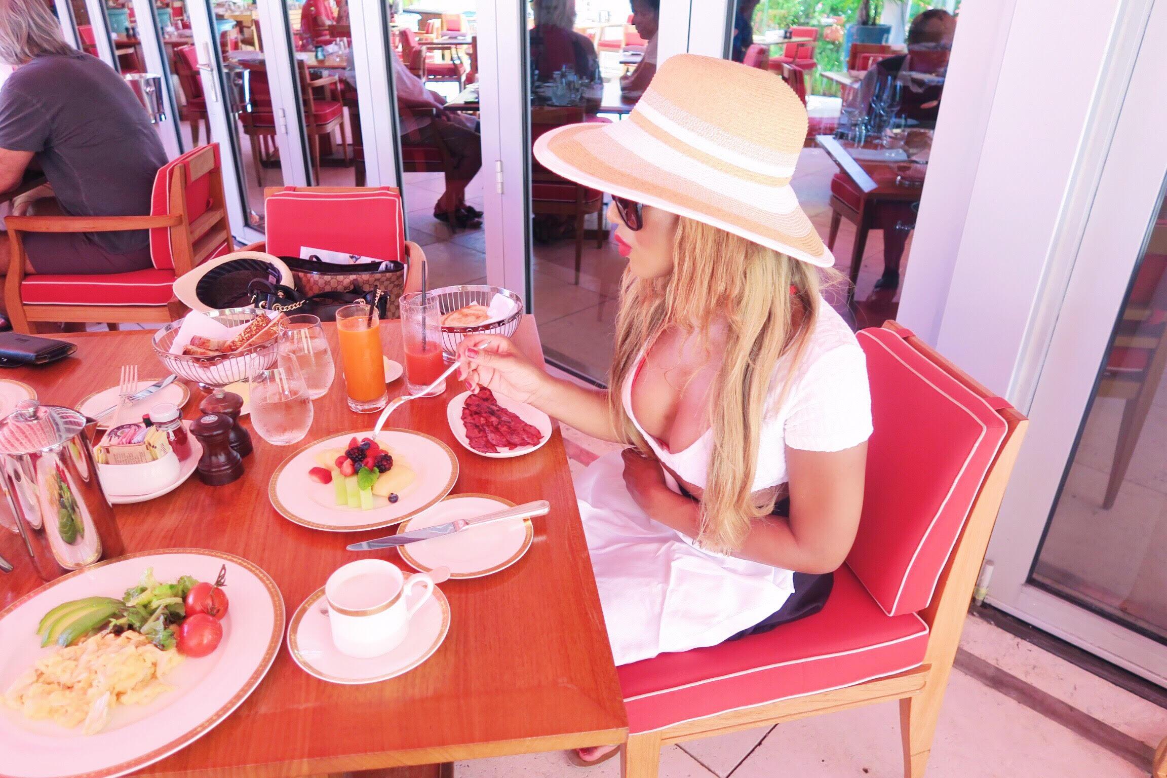 breakfast + faena hotel + miami beach + review + luxury hotel + holiday + stay + 5 star miami hotel + family + gina rio + gerogina rio  + big boobs + hot + beach look + pool side + outfit + bikini + fruit + turkey bacon + food .jpg