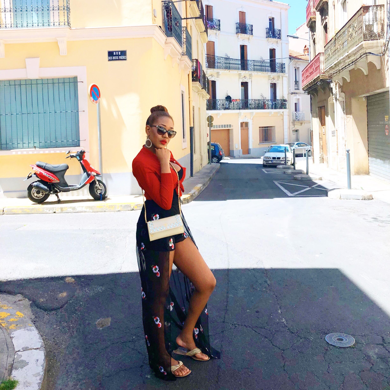 prada bag + short long skirt + cape +  red + straw hat + sexy elegant + south of france + hot + style + fashion + sandals.jpg