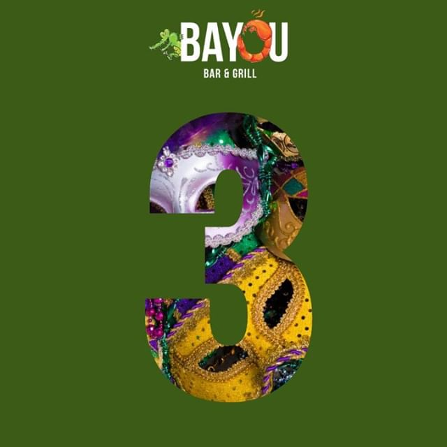 ⚜️Join us for #FatTuesday at the Bayou for a day of bites, brews, bands, and beads! Party kicks off at 5:30 pm! Only 3 more days!⚜️