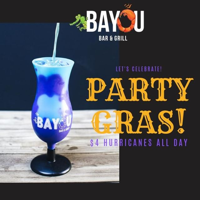 Our Mardi Gras Party will be going strong just like our  Hurricanes!  We've got beads, masks, and all the party favors! Let the Good Times Roll at the Bayou for Fat Tuesday! Party starts at 5 pm, don't miss it!