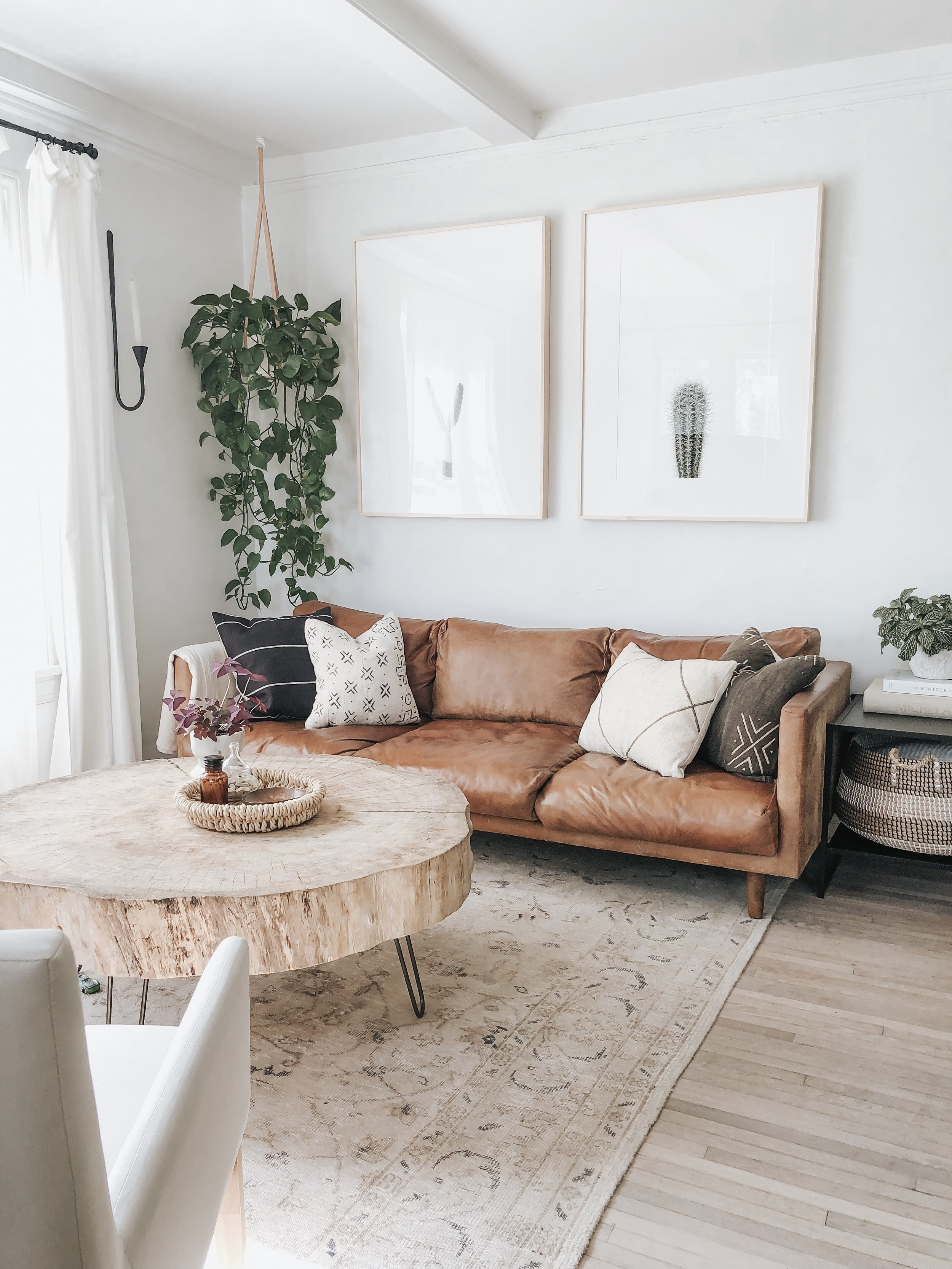 Sources:  Hanging planter  |  Candle wall sconce  | Coffee table - local flea market
