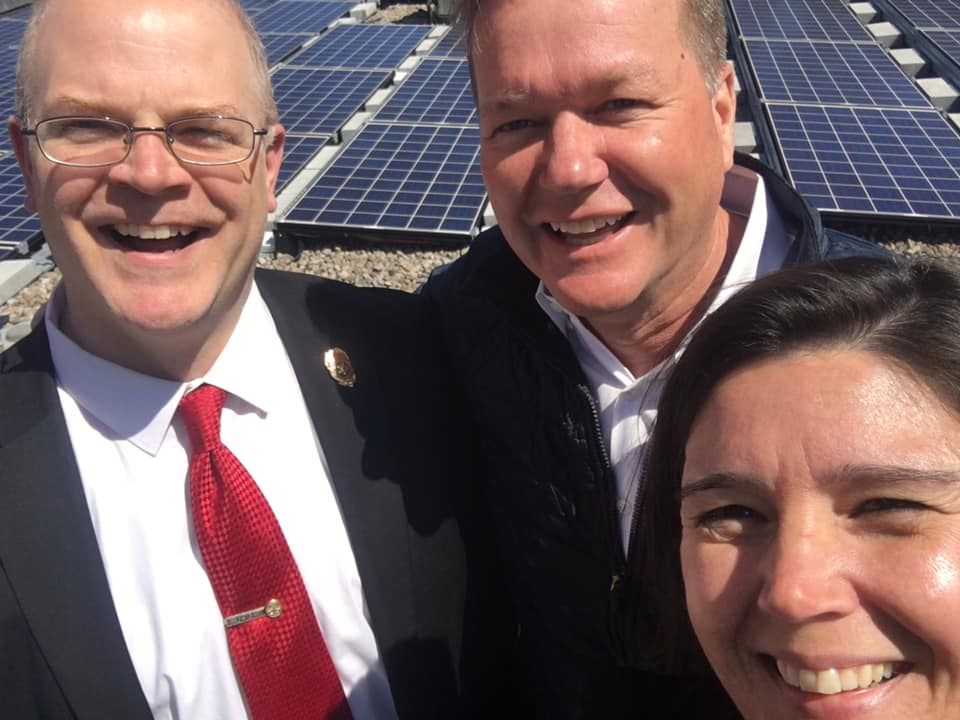 Representative Dykema  posted this selfie  with Chief Cassidy and Solect Energy's Brian Herr on the rooftop of the Holliston Fire Station.