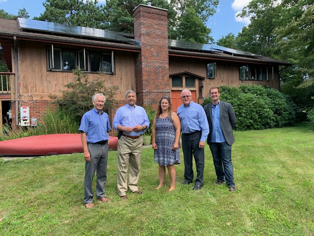 Pictured left to right: Eric Krathwohl, SEBANE; Senator Bruce Tarr; Alyssa Teixeira, homeowner; Tim Sanborn, Cazeault Solar & Home; James Manzer, ReVision Energy
