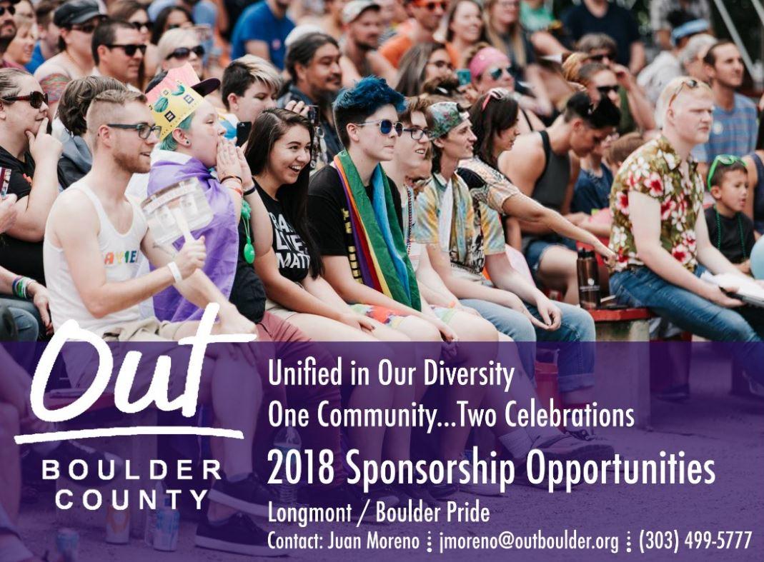 Are you interested in hosting a booth or sponsoring Pridefest? Please contact Juan Moreno at  jmoreno@outboulder.org ,  visit vendor information , or  visit sponsor information .