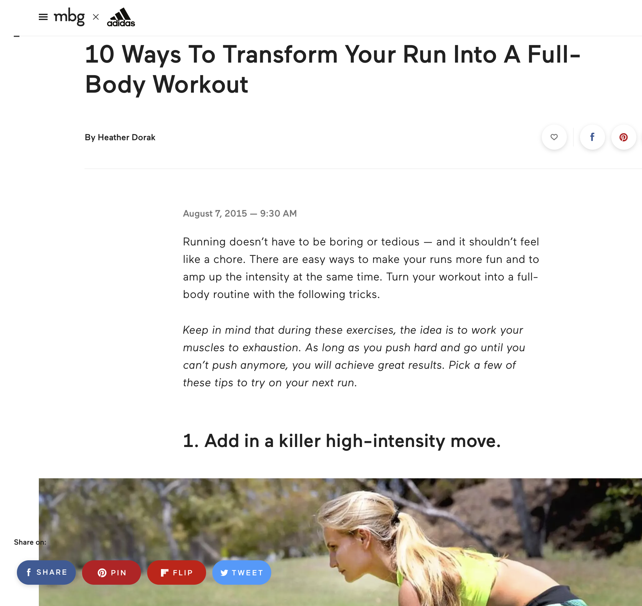 Heather Dorak running article for Mind Body Green + Adidas